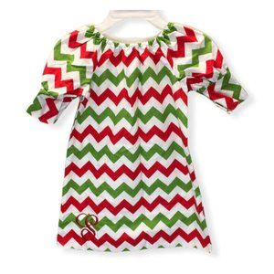 Lolly Wolly Doodle Red Green White Chevron Dress Monogram S Girl Size 4